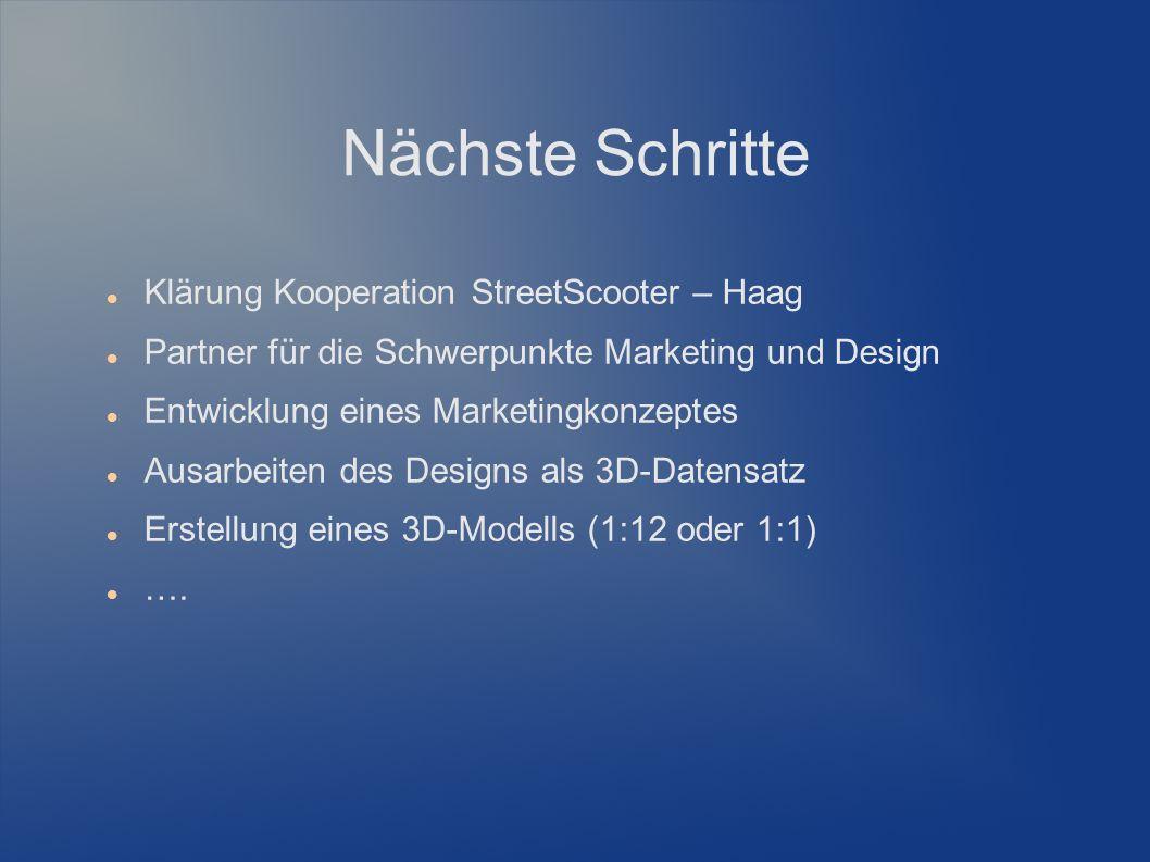 Nächste Schritte Klärung Kooperation StreetScooter – Haag Partner für die Schwerpunkte Marketing und Design Entwicklung eines Marketingkonzeptes Ausarbeiten des Designs als 3D-Datensatz Erstellung eines 3D-Modells (1:12 oder 1:1) ….