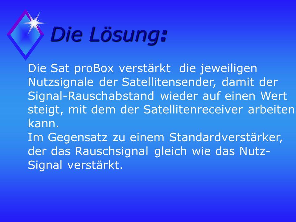 Die Lösung: Die Sat proBox verstärkt die jeweiligen Nutzsignale der Satellitensender, damit der Signal-Rauschabstand wieder auf einen Wert steigt, mit dem der Satellitenreceiver arbeiten kann.