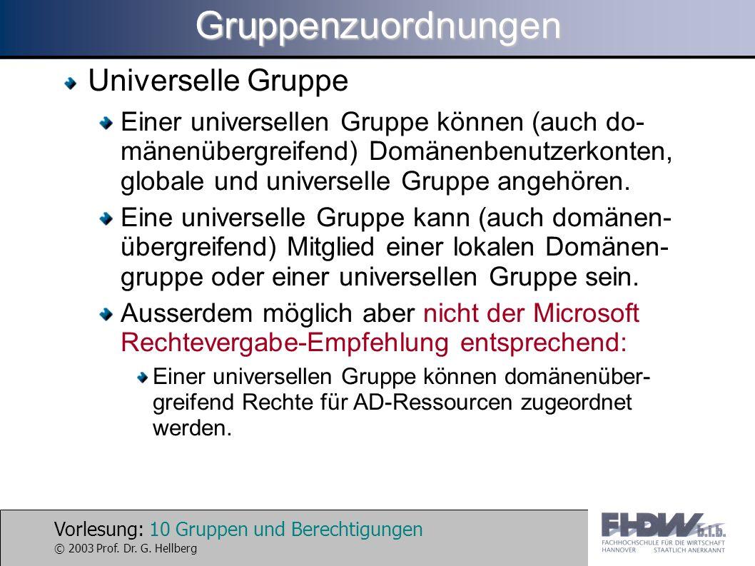 Vorlesung: 10 Gruppen und Berechtigungen © 2003 Prof. Dr. G. HellbergGruppenzuordnungen Universelle Gruppe Einer universellen Gruppe können (auch do-