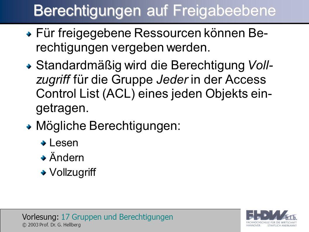 Vorlesung: 17 Gruppen und Berechtigungen © 2003 Prof. Dr. G. Hellberg Berechtigungen auf Freigabeebene Für freigegebene Ressourcen können Be- rechtigu