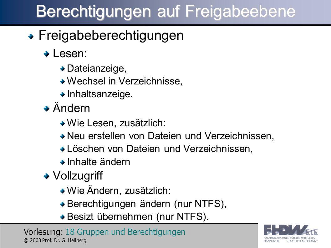Vorlesung: 18 Gruppen und Berechtigungen © 2003 Prof. Dr. G. Hellberg Berechtigungen auf Freigabeebene Freigabeberechtigungen Lesen: Dateianzeige, Wec