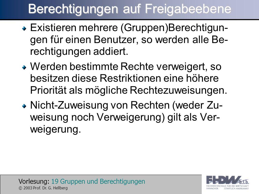 Vorlesung: 19 Gruppen und Berechtigungen © 2003 Prof. Dr. G. Hellberg Berechtigungen auf Freigabeebene Existieren mehrere (Gruppen)Berechtigun- gen fü