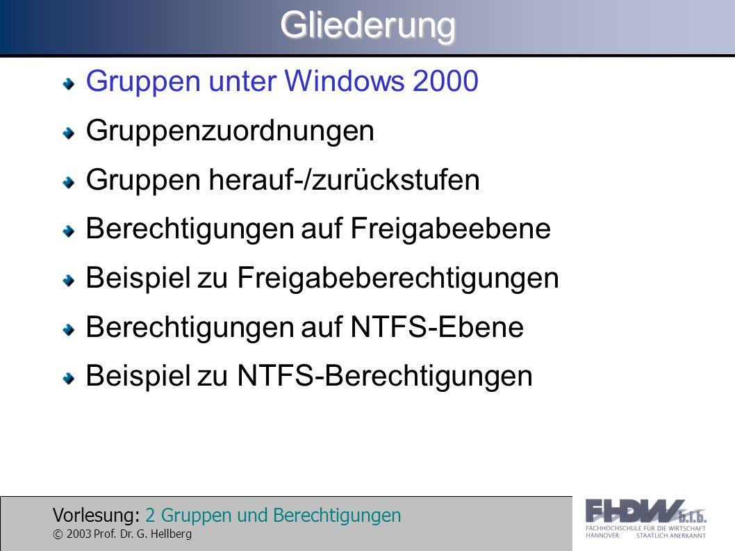 Vorlesung: 2 Gruppen und Berechtigungen © 2003 Prof. Dr. G. HellbergGliederung Gruppen unter Windows 2000 Gruppenzuordnungen Gruppen herauf-/zurückstu