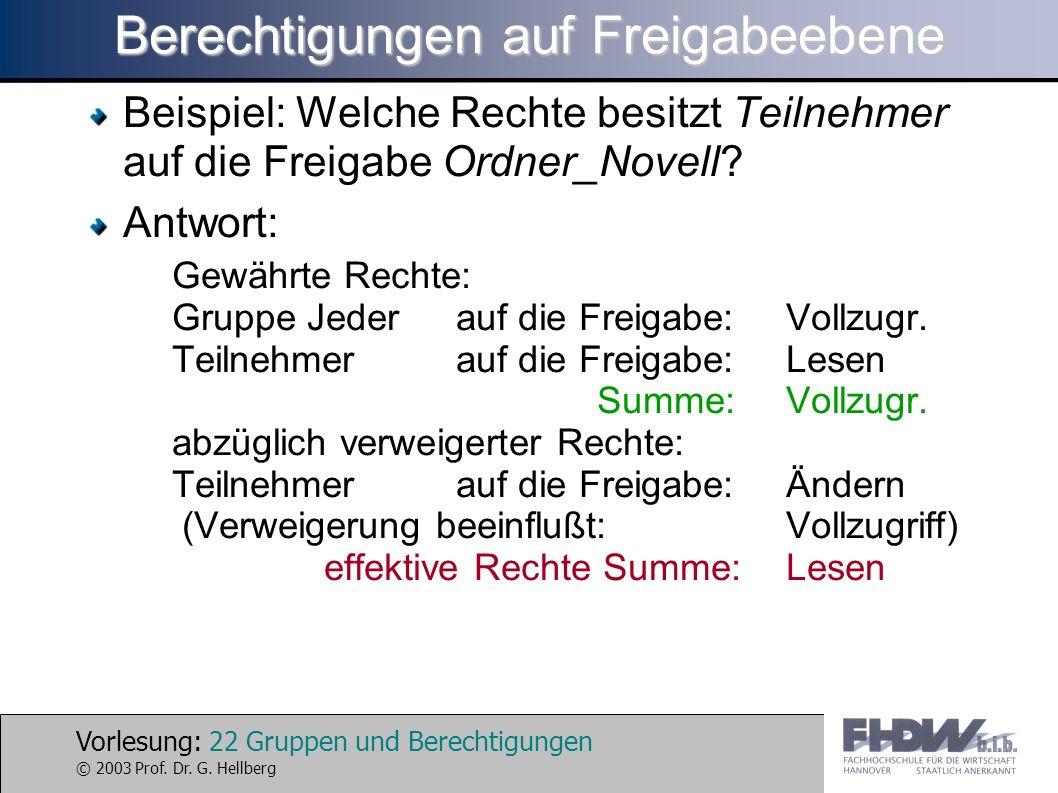Vorlesung: 22 Gruppen und Berechtigungen © 2003 Prof. Dr. G. Hellberg Berechtigungen auf Freigabeebene Beispiel: Welche Rechte besitzt Teilnehmer auf