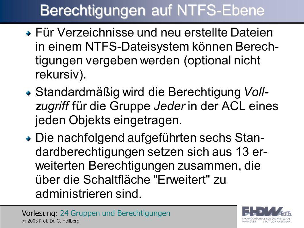 Vorlesung: 24 Gruppen und Berechtigungen © 2003 Prof. Dr. G. Hellberg Berechtigungen auf NTFS-Ebene Für Verzeichnisse und neu erstellte Dateien in ein