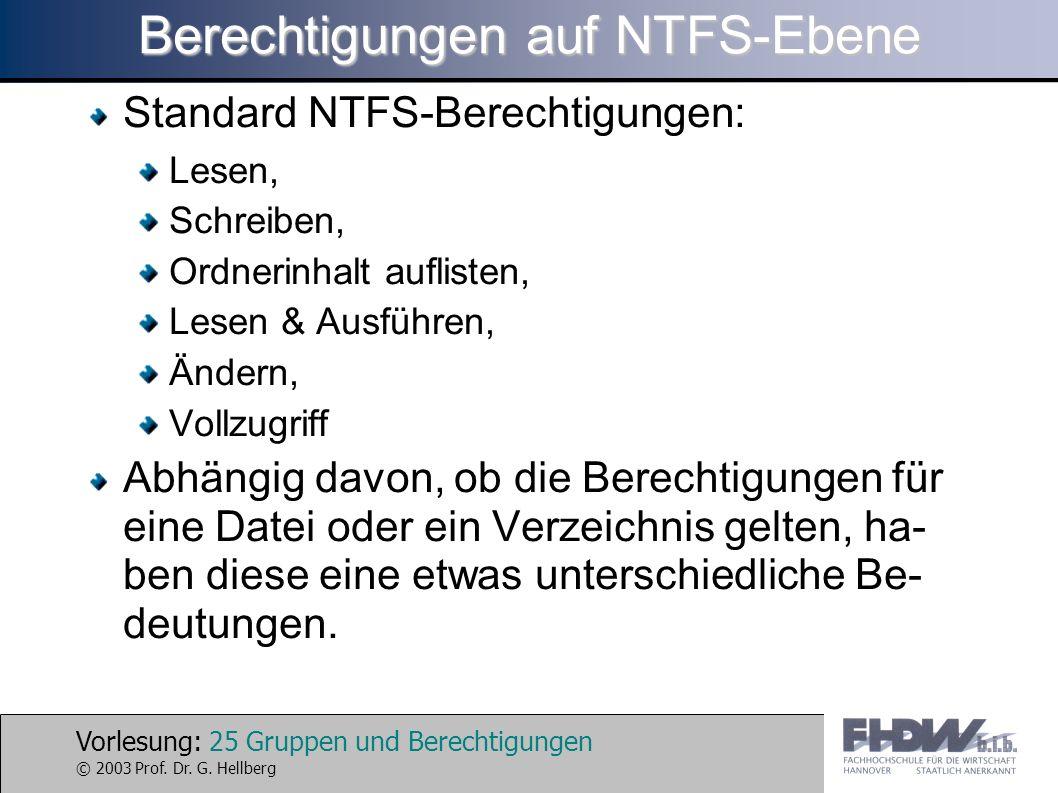 Vorlesung: 25 Gruppen und Berechtigungen © 2003 Prof. Dr. G. Hellberg Berechtigungen auf NTFS-Ebene Standard NTFS-Berechtigungen: Lesen, Schreiben, Or