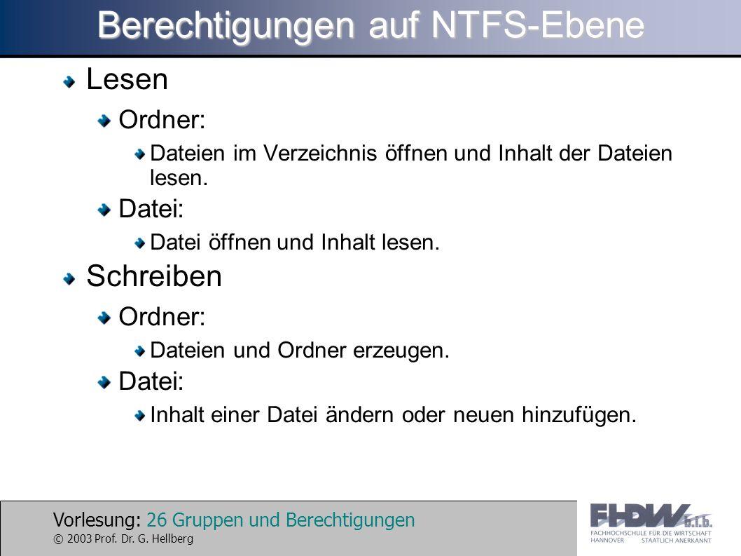 Vorlesung: 26 Gruppen und Berechtigungen © 2003 Prof. Dr. G. Hellberg Berechtigungen auf NTFS-Ebene Lesen Ordner: Dateien im Verzeichnis öffnen und In