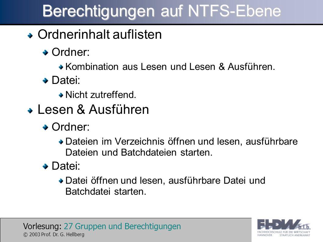 Vorlesung: 27 Gruppen und Berechtigungen © 2003 Prof. Dr. G. Hellberg Berechtigungen auf NTFS-Ebene Ordnerinhalt auflisten Ordner: Kombination aus Les