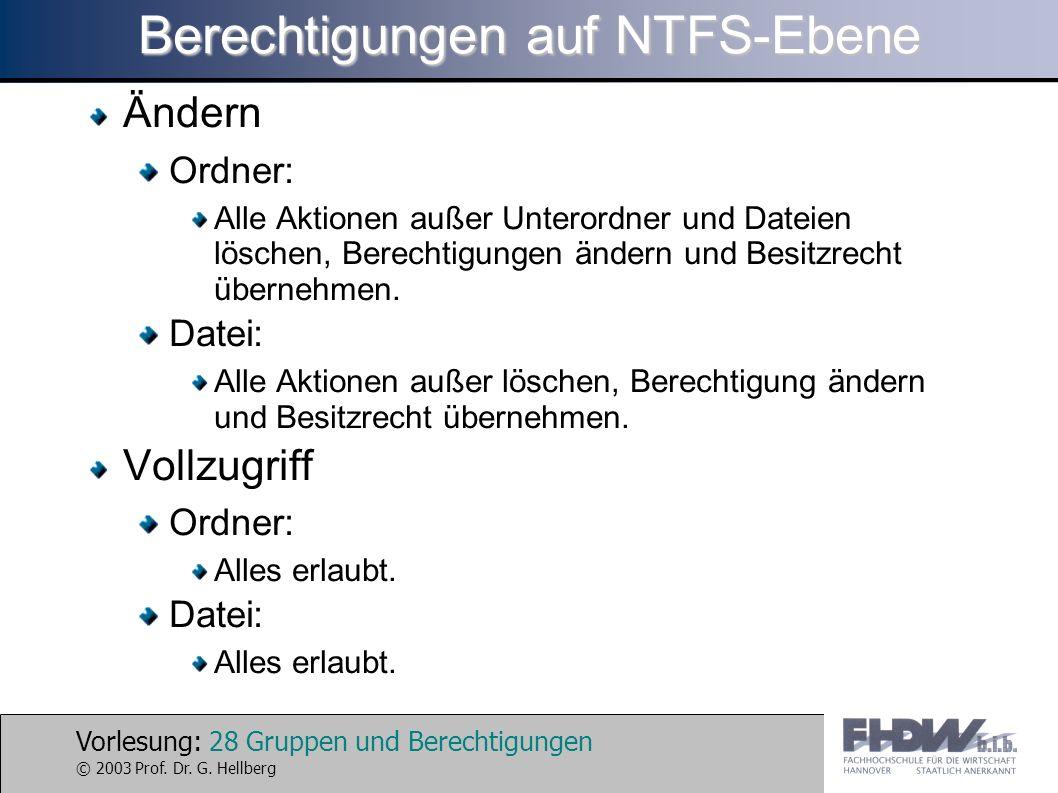 Vorlesung: 28 Gruppen und Berechtigungen © 2003 Prof. Dr. G. Hellberg Berechtigungen auf NTFS-Ebene Ändern Ordner: Alle Aktionen außer Unterordner und