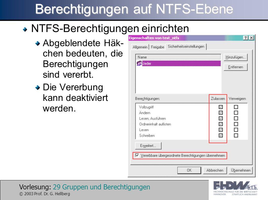 Vorlesung: 29 Gruppen und Berechtigungen © 2003 Prof. Dr. G. Hellberg Berechtigungen auf NTFS-Ebene NTFS-Berechtigungen einrichten Abgeblendete Häk- c