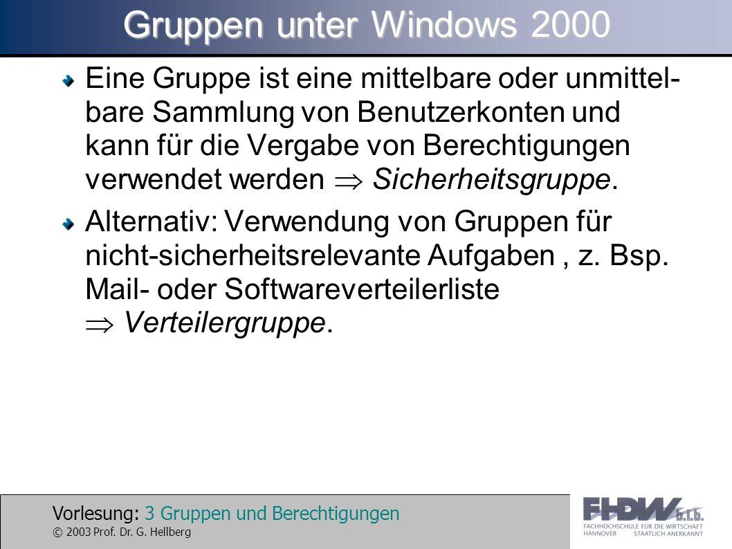 Vorlesung: 3 Gruppen und Berechtigungen © 2003 Prof. Dr. G. Hellberg Gruppen unter Windows 2000 Eine Gruppe ist eine mittelbare oder unmittel- bare Sa