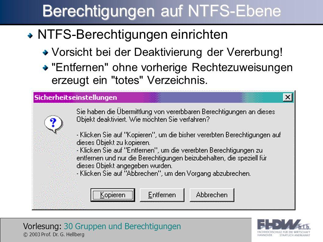 Vorlesung: 30 Gruppen und Berechtigungen © 2003 Prof. Dr. G. Hellberg Berechtigungen auf NTFS-Ebene NTFS-Berechtigungen einrichten Vorsicht bei der De
