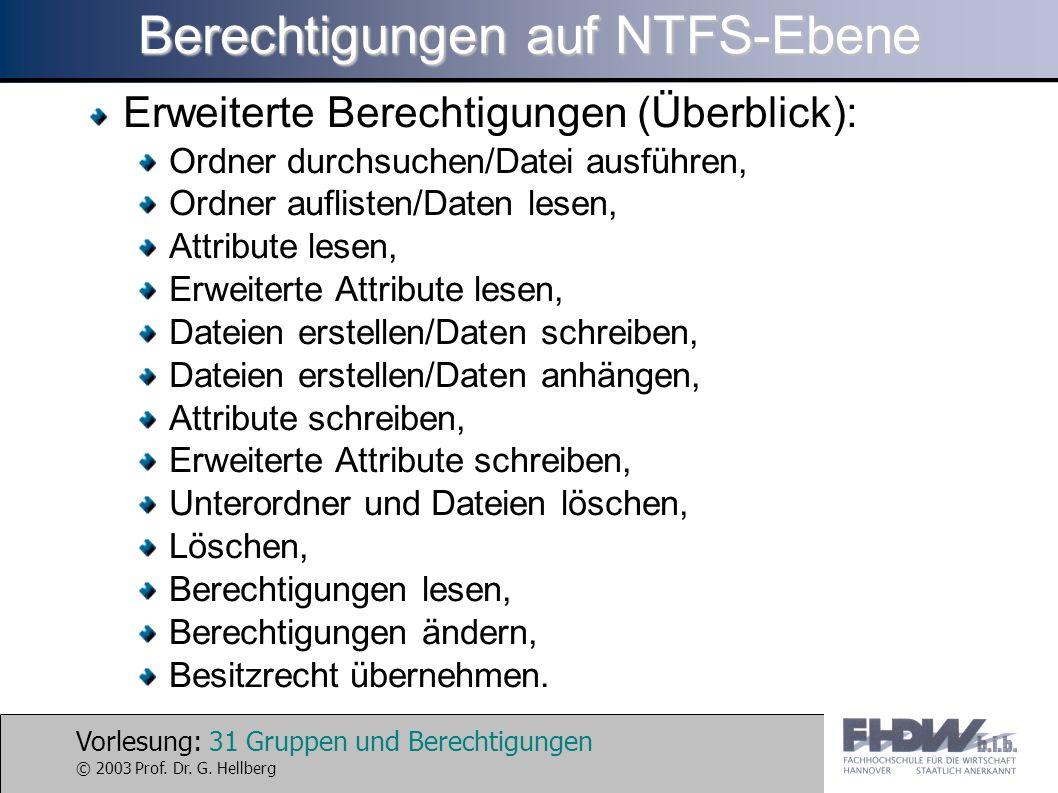 Vorlesung: 31 Gruppen und Berechtigungen © 2003 Prof. Dr. G. Hellberg Berechtigungen auf NTFS-Ebene Erweiterte Berechtigungen (Überblick): Ordner durc