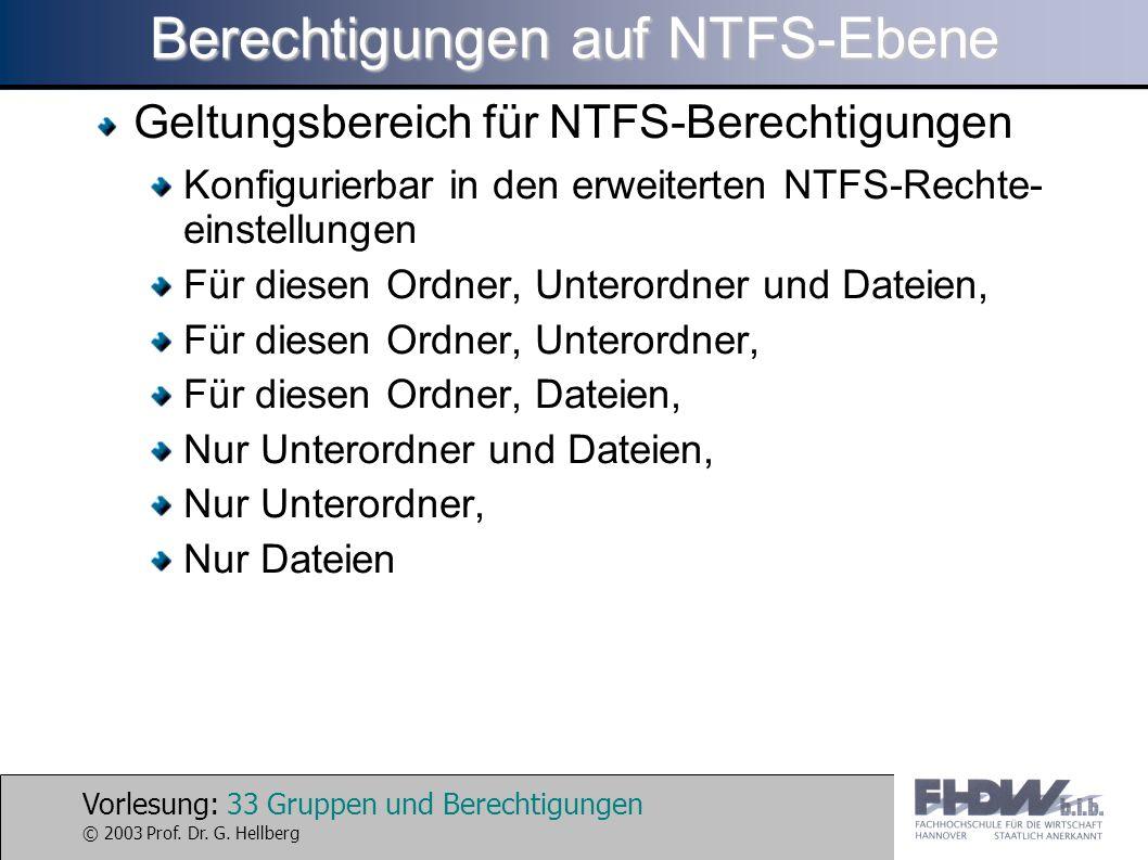 Vorlesung: 33 Gruppen und Berechtigungen © 2003 Prof. Dr. G. Hellberg Berechtigungen auf NTFS-Ebene Geltungsbereich für NTFS-Berechtigungen Konfigurie