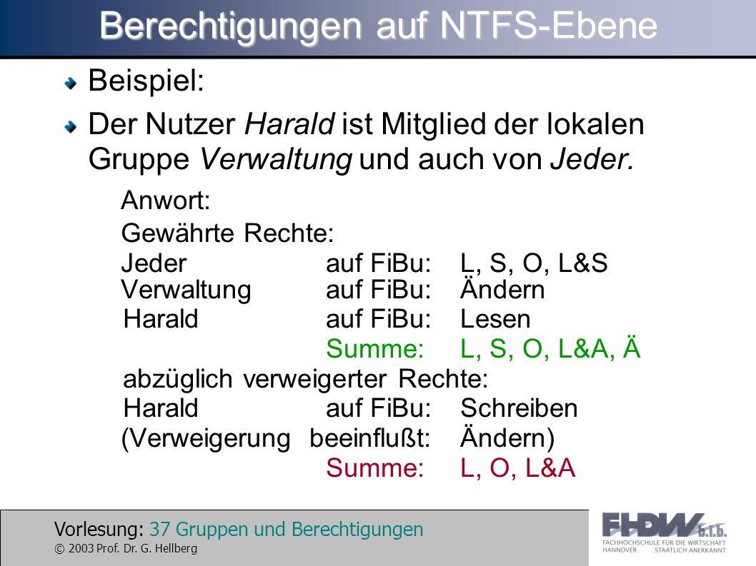 Vorlesung: 37 Gruppen und Berechtigungen © 2003 Prof. Dr. G. Hellberg Berechtigungen auf NTFS-Ebene Beispiel: Der Nutzer Harald ist Mitglied der lokal