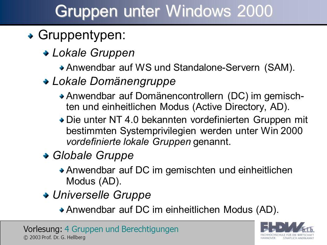 Vorlesung: 4 Gruppen und Berechtigungen © 2003 Prof. Dr. G. Hellberg Gruppen unter Windows 2000 Gruppentypen: Lokale Gruppen Anwendbar auf WS und Stan