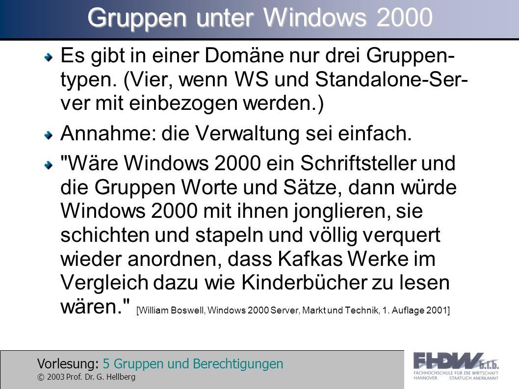 Vorlesung: 5 Gruppen und Berechtigungen © 2003 Prof. Dr. G. Hellberg Gruppen unter Windows 2000 Es gibt in einer Domäne nur drei Gruppen- typen. (Vier