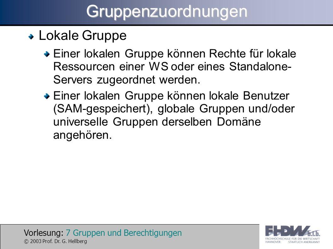 Vorlesung: 7 Gruppen und Berechtigungen © 2003 Prof. Dr. G. HellbergGruppenzuordnungen Lokale Gruppe Einer lokalen Gruppe können Rechte für lokale Res