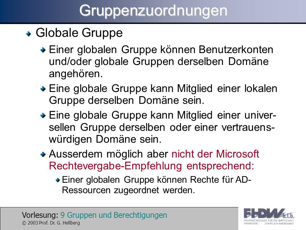 Vorlesung: 9 Gruppen und Berechtigungen © 2003 Prof. Dr. G. HellbergGruppenzuordnungen Globale Gruppe Einer globalen Gruppe können Benutzerkonten und/