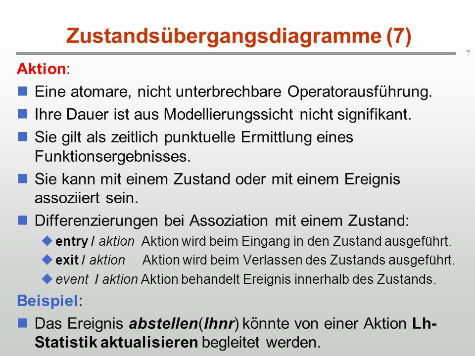 7 Zustandsübergangsdiagramme (7) Aktion: Eine atomare, nicht unterbrechbare Operatorausführung. Ihre Dauer ist aus Modellierungssicht nicht signifikan