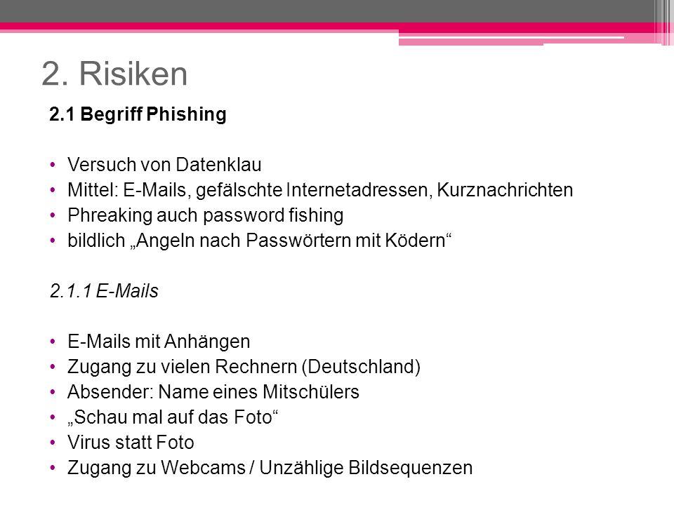 2. Risiken 2.1 Begriff Phishing Versuch von Datenklau Mittel: E-Mails, gefälschte Internetadressen, Kurznachrichten Phreaking auch password fishing bi