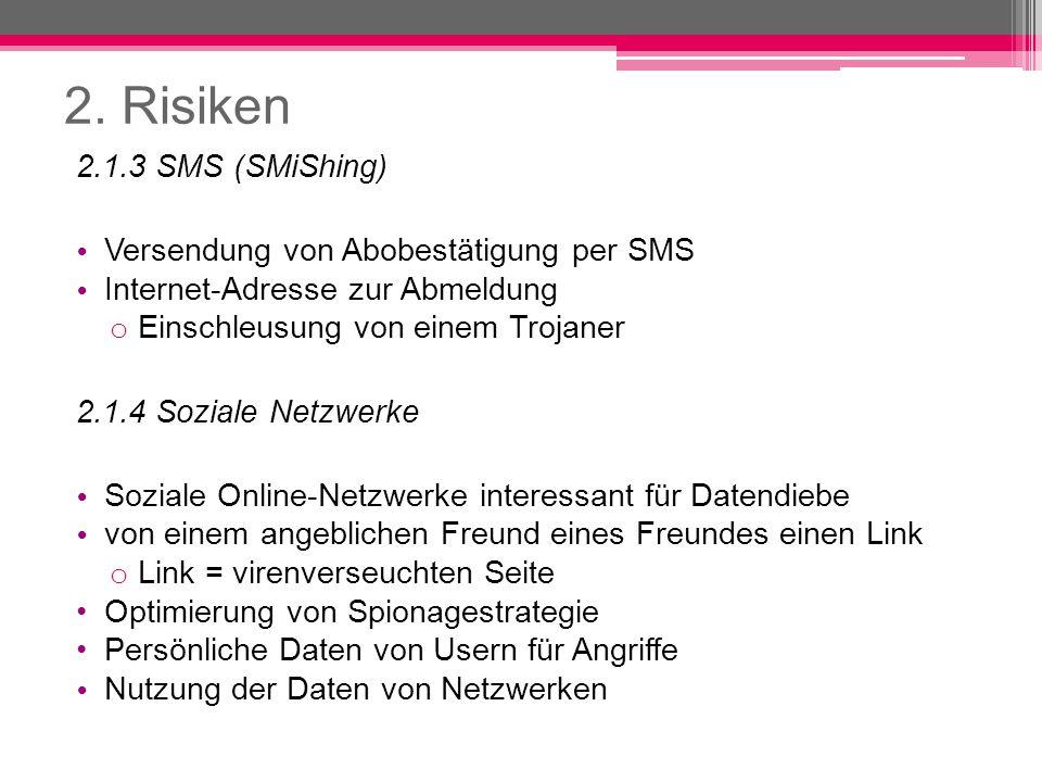 2. Risiken 2.1.3 SMS (SMiShing) Versendung von Abobestätigung per SMS Internet-Adresse zur Abmeldung o Einschleusung von einem Trojaner 2.1.4 Soziale