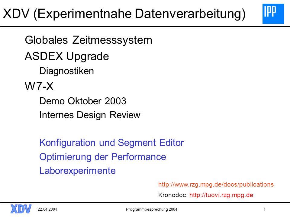 22.04.2004Programmbesprechung 20041 XDV (Experimentnahe Datenverarbeitung) Globales Zeitmesssystem ASDEX Upgrade Diagnostiken W7-X Demo Oktober 2003 Internes Design Review Konfiguration und Segment Editor Optimierung der Performance Laborexperimente Kronodoc: http://tuovi.rzg.mpg.de http://www.rzg.mpg.de/docs/publications