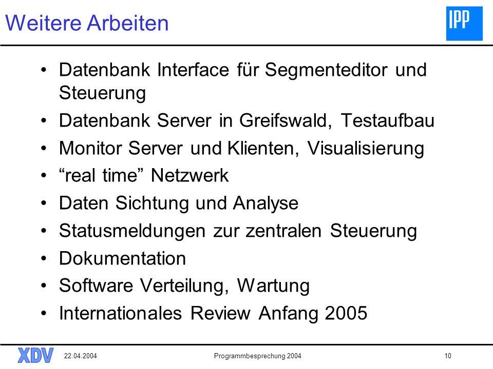 22.04.2004Programmbesprechung 200410 Weitere Arbeiten Datenbank Interface für Segmenteditor und Steuerung Datenbank Server in Greifswald, Testaufbau M