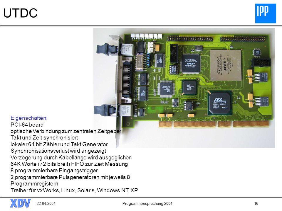 22.04.2004Programmbesprechung 200416 UTDC Eigenschaften: PCI-64 board optische Verbindung zum zentralen Zeitgeber Takt und Zeit synchronisiert lokaler 64 bit Zähler und Takt Generator Synchronisationsverlust wird angezeigt Verzögerung durch Kabellänge wird ausgeglichen 64K Worte (72 bits breit) FIFO zur Zeit Messung 8 programmierbare Eingangstrigger 2 programmierbare Pulsgeneratoren mit jeweils 8 Programmregistern Treiber für vxWorks, Linux, Solaris, Windows NT, XP