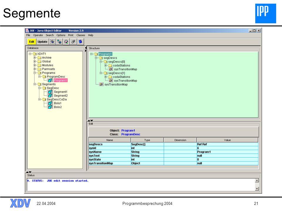 22.04.2004Programmbesprechung 200421 Segmente