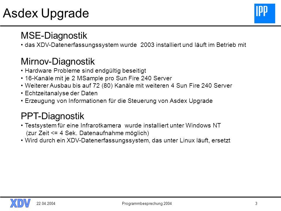 22.04.2004Programmbesprechung 20043 Asdex Upgrade Mirnov-Diagnostik Hardware Probleme sind endgültig beseitigt 16-Kanäle mit je 2 MSample pro Sun Fire 240 Server Weiterer Ausbau bis auf 72 (80) Kanäle mit weiteren 4 Sun Fire 240 Server Echtzeitanalyse der Daten Erzeugung von Informationen für die Steuerung von Asdex Upgrade MSE-Diagnostik das XDV-Datenerfassungssystem wurde 2003 installiert und läuft im Betrieb mit PPT-Diagnostik Testsystem für eine Infrarotkamera wurde installiert unter Windows NT (zur Zeit <= 4 Sek.