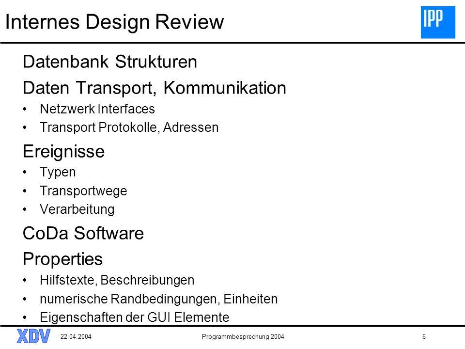 22.04.2004Programmbesprechung 20046 Internes Design Review Datenbank Strukturen Daten Transport, Kommunikation Netzwerk Interfaces Transport Protokoll