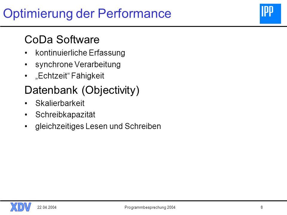 22.04.2004Programmbesprechung 20048 Optimierung der Performance CoDa Software kontinuierliche Erfassung synchrone Verarbeitung Echtzeit Fähigkeit Datenbank (Objectivity) Skalierbarkeit Schreibkapazität gleichzeitiges Lesen und Schreiben