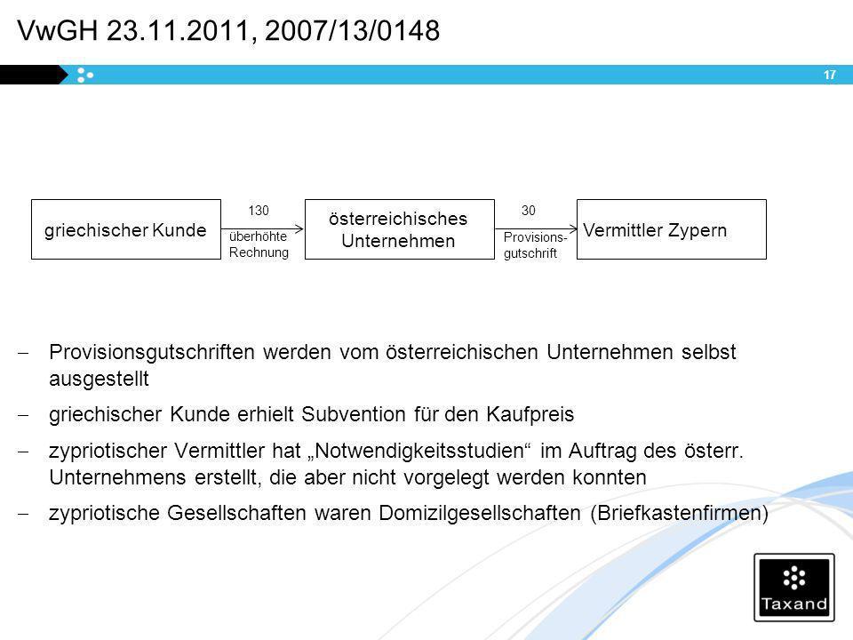 VwGH 23.11.2011, 2007/13/0148 Provisionsgutschriften werden vom österreichischen Unternehmen selbst ausgestellt griechischer Kunde erhielt Subvention