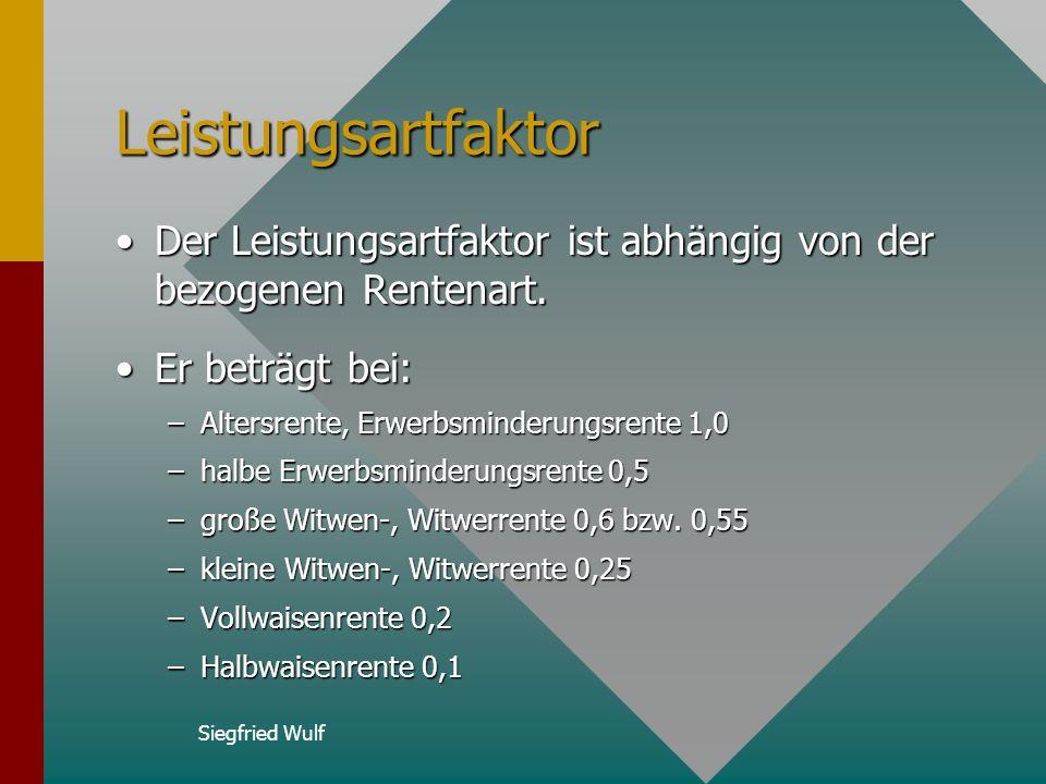 Siegfried Wulf Tabelle Altersfaktor