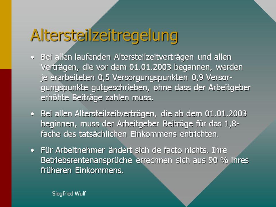 Siegfried Wulf Bonuspunkte Die über die Berechnungsformel ermittelten Versor- gungspunkte spiegeln eine Verzinsung der Beiträge zur ZVK von 3,25 % in