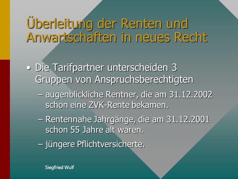 Siegfried Wulf Altersteilzeitregelung Bei allen laufenden Altersteilzeitverträgen und allen Verträgen, die vor dem 01.01.2003 begannen, werden je erar