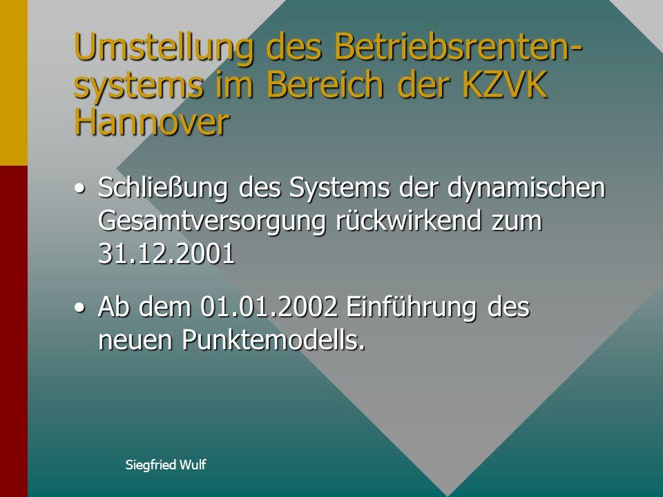 Siegfried Wulf Umstellung des Betriebsrenten- systems im Bereich der KZVK Hannover Schließung des Systems der dynamischen Gesamtversorgung rückwirkend zum 31.12.2001Schließung des Systems der dynamischen Gesamtversorgung rückwirkend zum 31.12.2001 Ab dem 01.01.2002 Einführung des neuen Punktemodells.Ab dem 01.01.2002 Einführung des neuen Punktemodells.