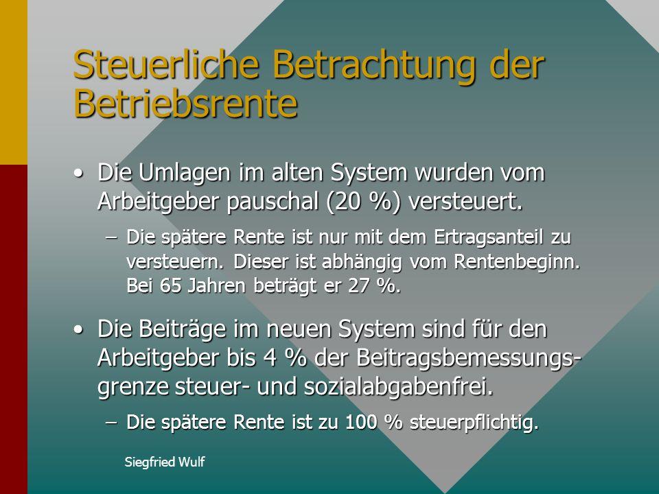 Siegfried Wulf Entgeltumwandlung (2) Bei der steuerfreien Entgeltumwandlung (2003 bis zu 2448 Euro) werden die Beiträge des Arbeitgebers zur ZVK (4 %