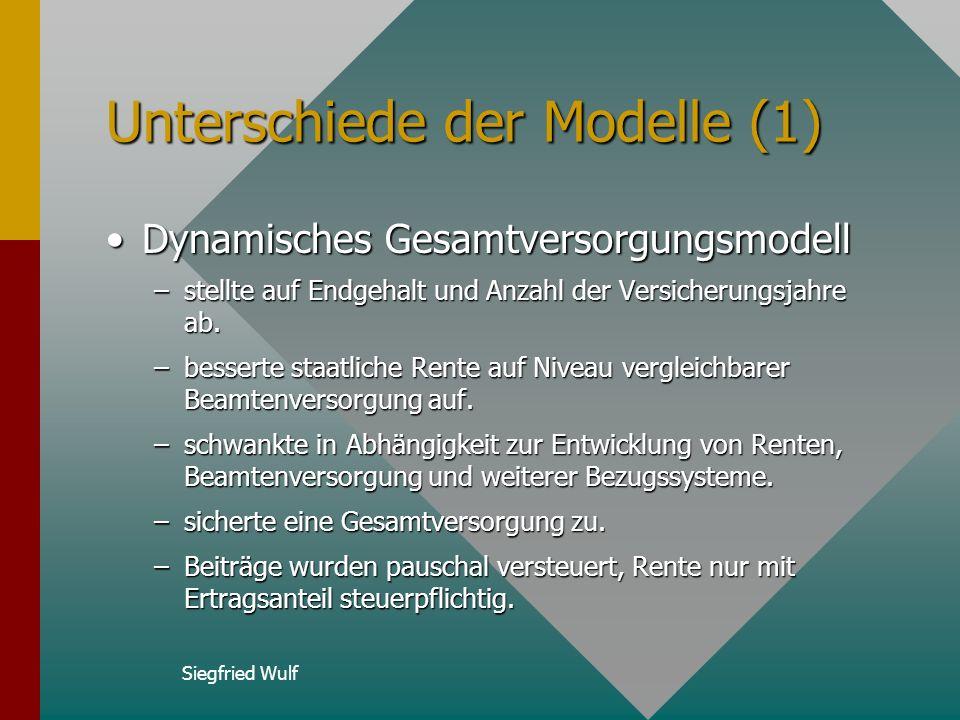 Siegfried Wulf Unterschiede der Modelle (1) Dynamisches GesamtversorgungsmodellDynamisches Gesamtversorgungsmodell –stellte auf Endgehalt und Anzahl der Versicherungsjahre ab.
