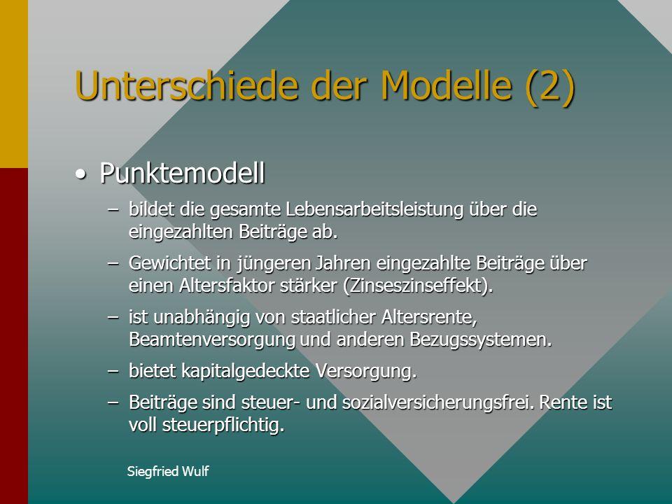 Siegfried Wulf Unterschiede der Modelle (2) PunktemodellPunktemodell –bildet die gesamte Lebensarbeitsleistung über die eingezahlten Beiträge ab.