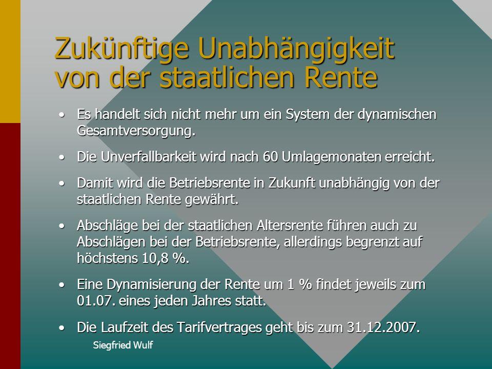 Siegfried Wulf Zukünftige Unabhängigkeit von der staatlichen Rente Es handelt sich nicht mehr um ein System der dynamischen Gesamtversorgung.Es handelt sich nicht mehr um ein System der dynamischen Gesamtversorgung.