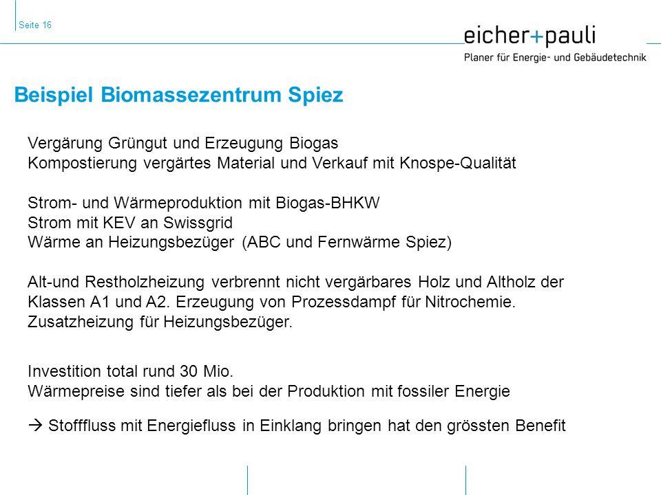 Seite 16 Beispiel Biomassezentrum Spiez Stofffluss mit Energiefluss in Einklang bringen hat den grössten Benefit Vergärung Grüngut und Erzeugung Biogas Kompostierung vergärtes Material und Verkauf mit Knospe-Qualität Strom- und Wärmeproduktion mit Biogas-BHKW Strom mit KEV an Swissgrid Wärme an Heizungsbezüger (ABC und Fernwärme Spiez) Alt-und Restholzheizung verbrennt nicht vergärbares Holz und Altholz der Klassen A1 und A2.