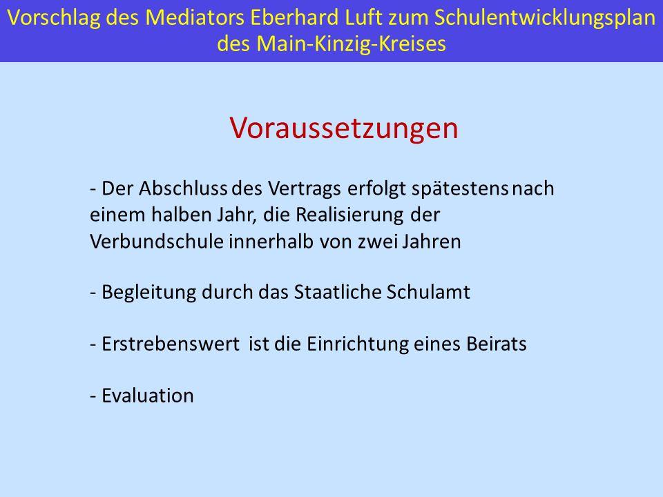 Vorschlag des Mediators Eberhard Luft zum Schulentwicklungsplan des Main-Kinzig-Kreises Voraussetzungen - Der Abschluss des Vertrags erfolgt spätesten