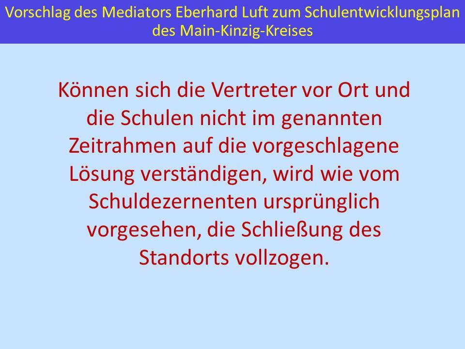 Vorschlag des Mediators Eberhard Luft zum Schulentwicklungsplan des Main-Kinzig-Kreises Können sich die Vertreter vor Ort und die Schulen nicht im gen