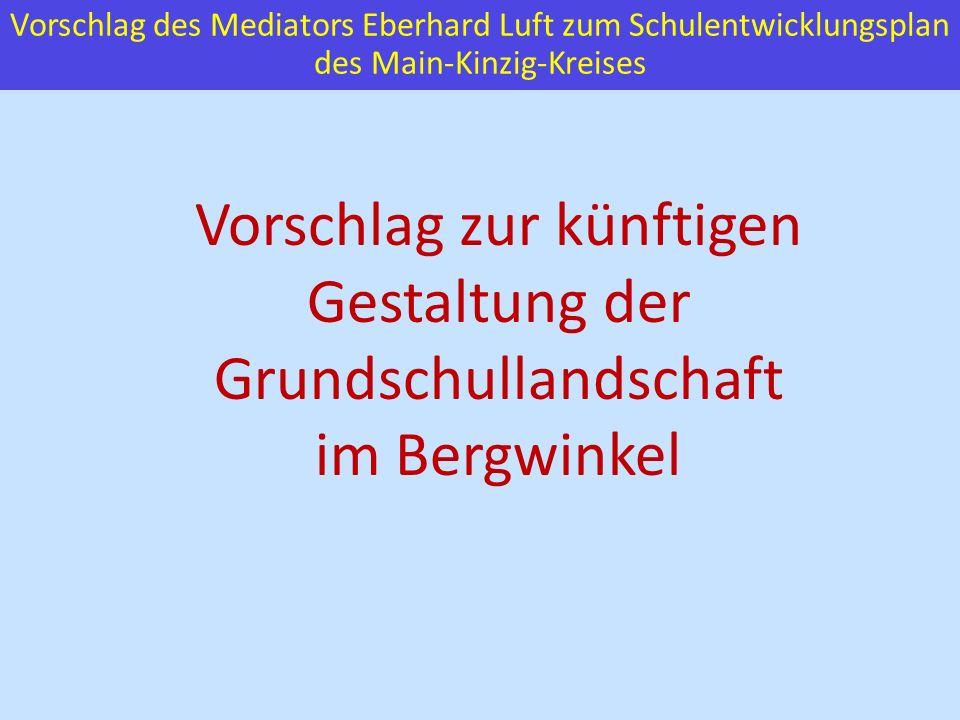 Vorschlag des Mediators Eberhard Luft zum Schulentwicklungsplan des Main-Kinzig-Kreises Vorschlag zur künftigen Gestaltung der Grundschullandschaft im