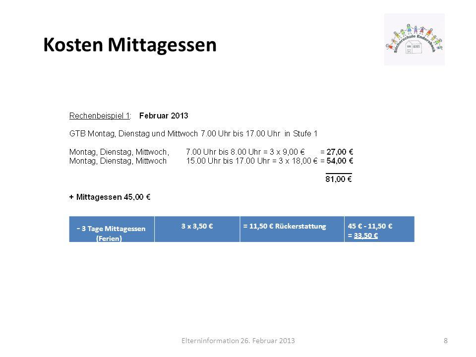 Kosten Mittagessen Elterninformation 26. Februar 20138 - 3 Tage Mittagessen (Ferien) 3 x 3,50 = 11,50 Rückerstattung 45 - 11,50 = 33,50
