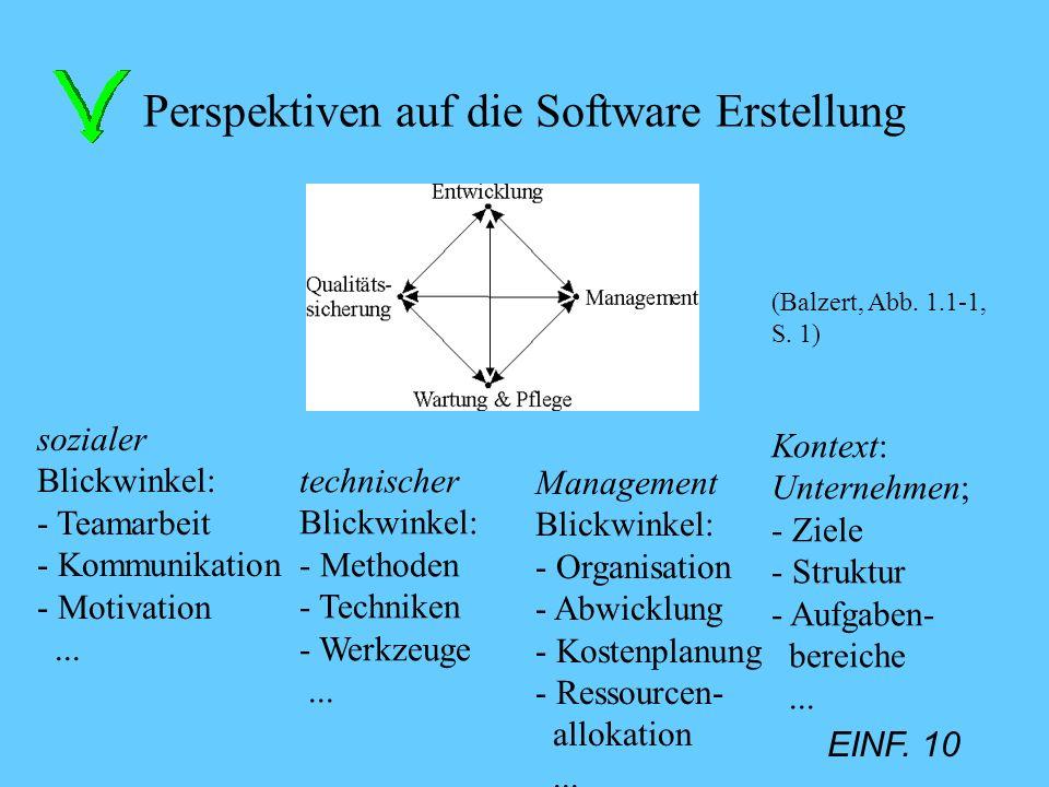 EINF. 10 Perspektiven auf die Software Erstellung sozialer Blickwinkel: - Teamarbeit - Kommunikation - Motivation... technischer Blickwinkel: - Method