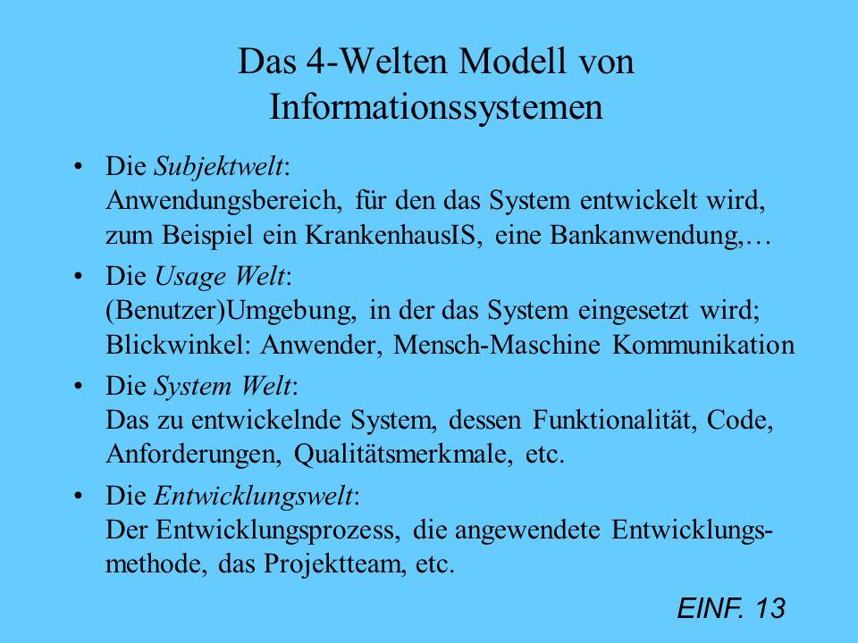 EINF. 13 Das 4-Welten Modell von Informationssystemen Die Subjektwelt: Anwendungsbereich, für den das System entwickelt wird, zum Beispiel ein Kranken