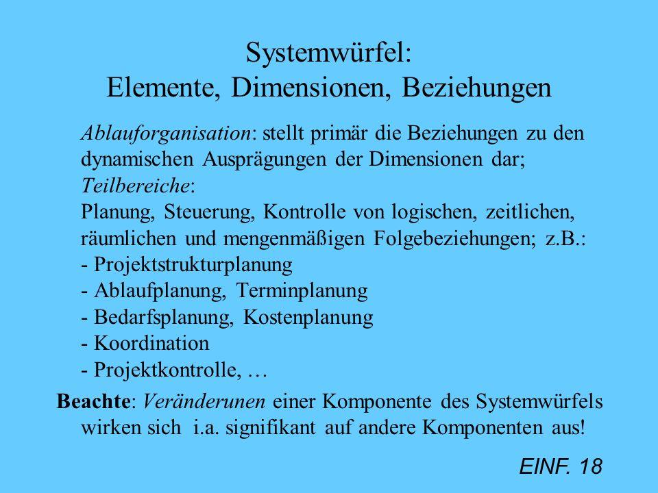 EINF. 18 Systemwürfel: Elemente, Dimensionen, Beziehungen Ablauforganisation: stellt primär die Beziehungen zu den dynamischen Ausprägungen der Dimens